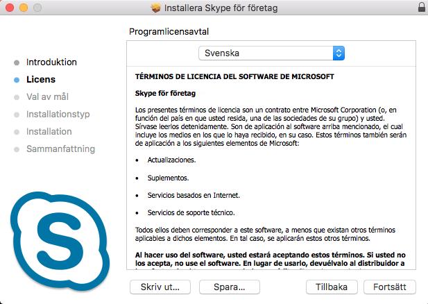 Skypes användaravtal. Finns på flera språk men den svenska versionen ser felaktig ut